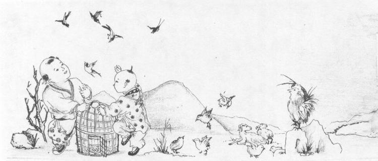 放生蝴蝶手绘影视墙图