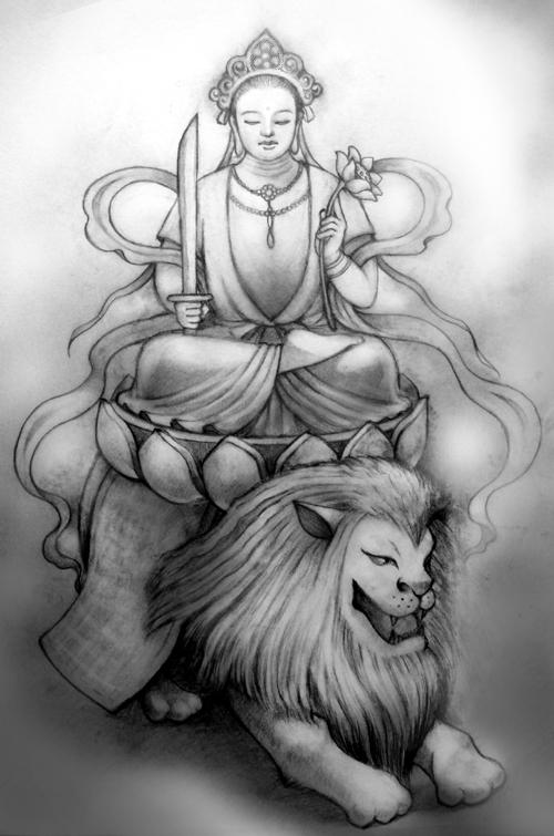 素描动物画菩萨